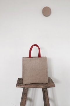 Galleri Jute - jute bag with colored round handles 2 Profilbureauet